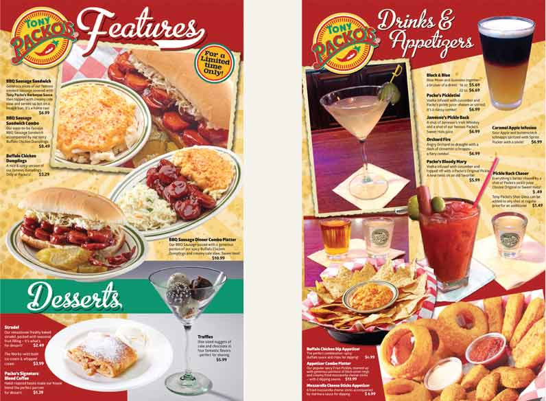 Tony Packos Features Menu, Food, Drinks and specials