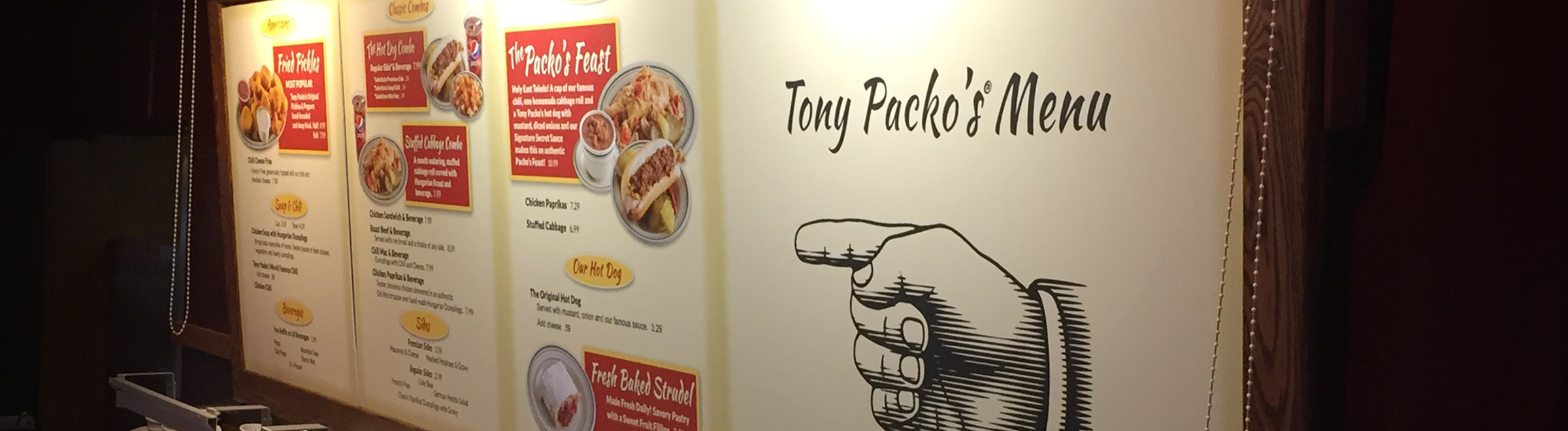 Tony Packo's Menu Board