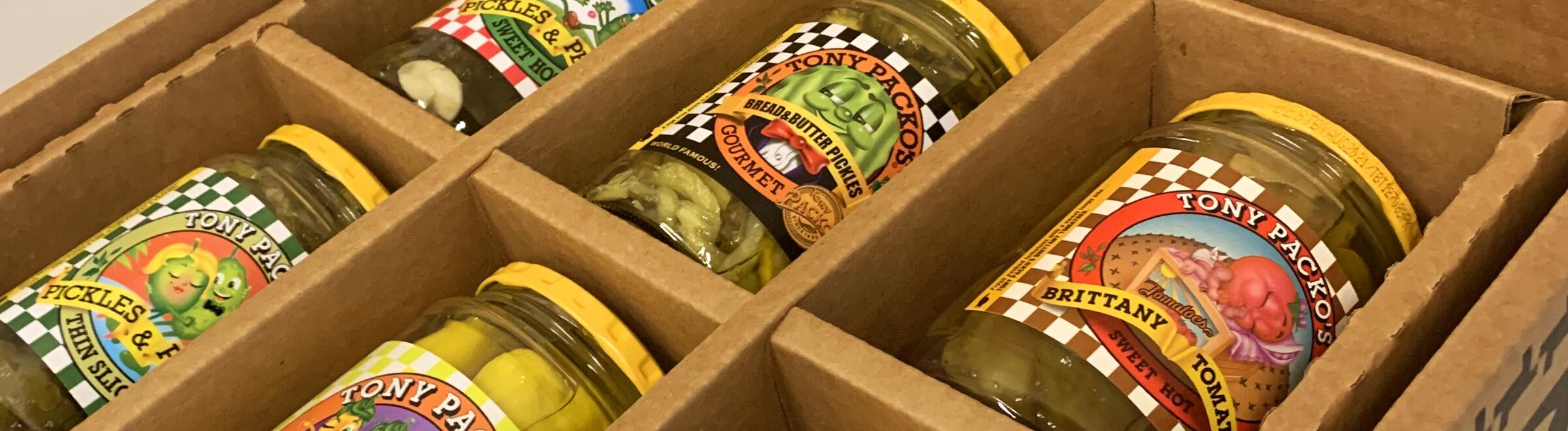 Tony Packo's Gift Pack open box with a variety of Packos Pickle's