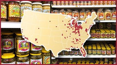 Map of groshery store locations that sell Tony Packo's products