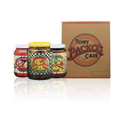 3 Jars of Tony Packo's Pickles & Peppers next to a close gift pack box