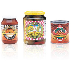 3 Jars: Chili, Pickles & Peppers and Hot Dog Sauce from Tony Packo's