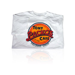 White T-shirt with Tony Packo's Cafe logo & Toledo Ohio on it