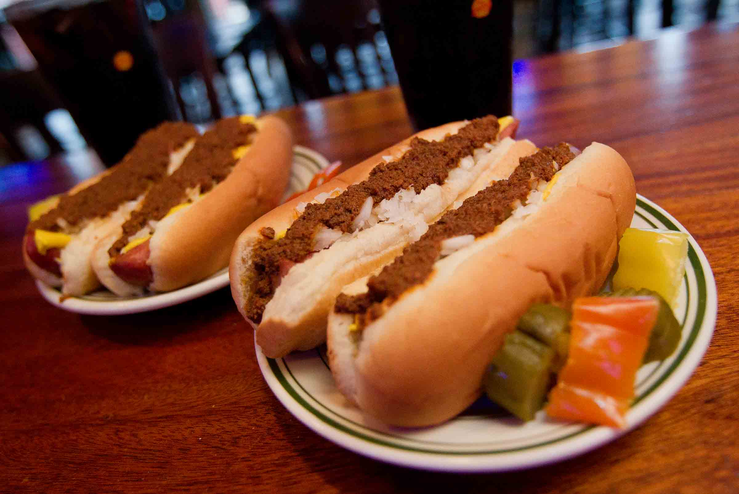 Two Hungarian Chili Hot Dogs at Tony Packos Cafe